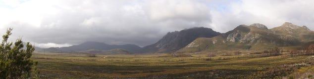 Panorama of mountain ranges in Strathgordon Stock Photos