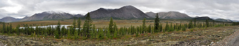 Panorama of a mountain ridge. Royalty Free Stock Photography