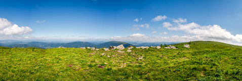 Panorama of mountain ridge in summer. Panorama of mountain. beautiful summer background on fine weather day Royalty Free Stock Photos