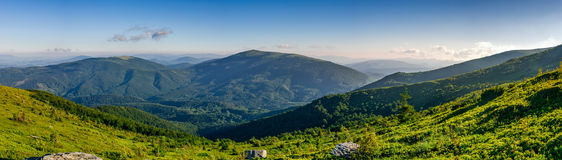 Panorama of mountain ridge in summer. Panorama of mountain. beautiful summer background on fine weather day Stock Photo