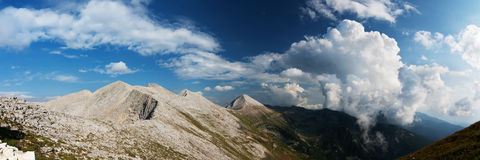 Panorama of a Mountain Ridge and a Valley Stock Photography