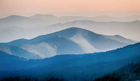 Panorama  mountain ridges silhouettes Royalty Free Stock Images