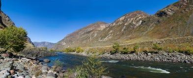 Panorama of mountain river Stock Photos