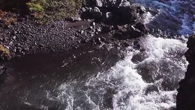 Panorama of mountain river with rapids and waterfalls, Iceland stock footage