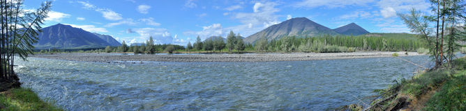 Panorama of a mountain river. Stock Images