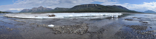 Panorama of a mountain river. Stock Photography