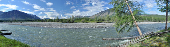 Panorama of a mountain river. Royalty Free Stock Photography