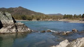 Panorama of the mountain river, turquoise water, summer and autumn stock footage