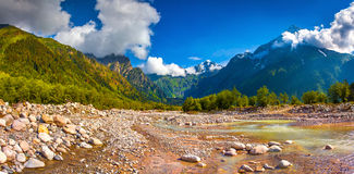 Panorama of the mountain river. Royalty Free Stock Photo