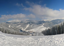 Panorama mountain slope. Beautiful blue sky Royalty Free Stock Photo
