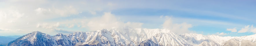 .Panorama of Mountain Snow  Landscape with Blue Sky ,Japan Royalty Free Stock Photography