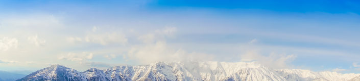 .Panorama of Mountain Snow  Landscape with Blue Sky ,Japan Royalty Free Stock Images