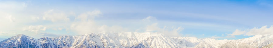 .Panorama of Mountain Snow  Landscape with Blue Sky ,Japan Royalty Free Stock Image
