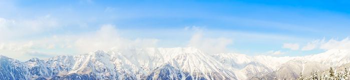 Panorama of Mountain Snow  Landscape with Blue Sky ,Japan. Stock Photos
