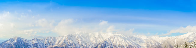 .Panorama of Mountain Snow  Landscape with Blue Sky ,Japan Stock Photography