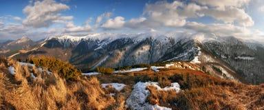 Panorama mountain with sun, Vratna valley, Slovakia Royalty Free Stock Photos