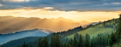 Panorama of mountain at sunset Stock Photo