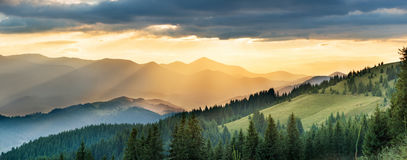 Panorama of mountain at sunset Royalty Free Stock Images