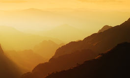 Panorama mountain sunset. In Thailand for background design Royalty Free Stock Image