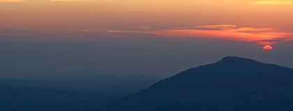Panorama mountain sunset. In Thailand for background design stock images