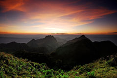 Panorama mountain sunset Royalty Free Stock Image