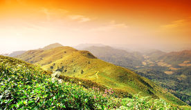 Panorama mountain sunset Stock Photo