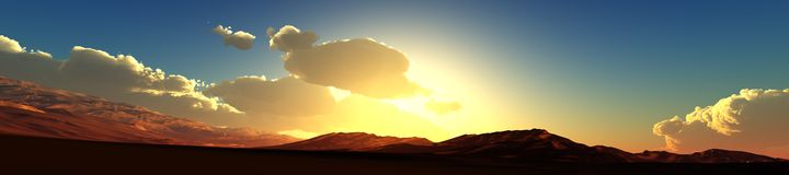 Panorama of mountain sunset view of sunrise over the mountains, the light over the mountains, Royalty Free Stock Photo