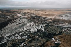 Panorama from the mountain to the north of Icelandn stock image