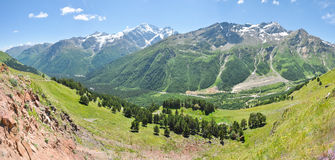 Panorama of a mountain valley in the Caucasus Stock Photography