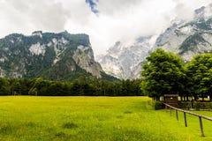 Panorama of the mountain valley near Konigsee lake. Germany royalty free stock photos