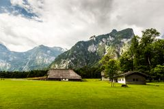 Panorama of the mountain valley near Konigsee lake. Germany stock image