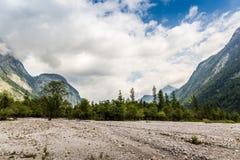 Panorama of the mountain valley near Konigsee lake. Germany stock photo