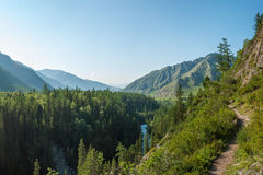 Panorama of a mountain valley, river Kucherla. Trekking in the Altai Mountains Royalty Free Stock Image