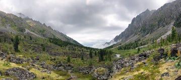 Panorama of a mountain valley river Zun-Handagay Stock Photo
