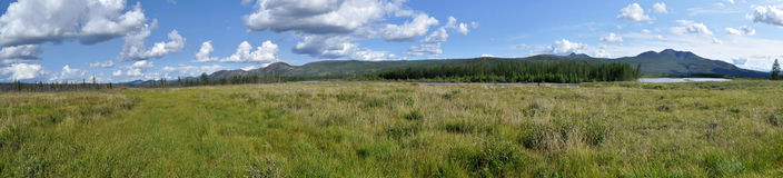Panorama of a mountain valley. Stock Photography