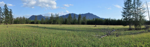 Panorama of a mountain valley. Stock Photo