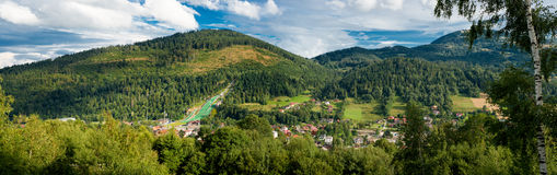 Panorama of an mountain village Royalty Free Stock Images