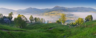 Panorama Mountain Village in the Carpathians Royalty Free Stock Images