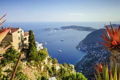 Panorama from the mountain of the village Eze to the sea stock images