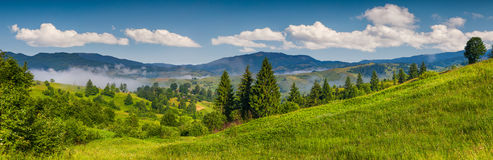 Panorama of the mountain village Stock Images