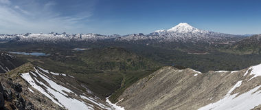 Panorama: mountain (volcanic) landscape of Kamchatka Stock Image