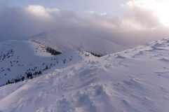 Panorama mountain winter landscape. Tatry.  stock photo