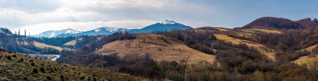 Panorama of mountainous area of Carpathians. Lovely springtime landscape located near the Volovets town, Ukraine Stock Image