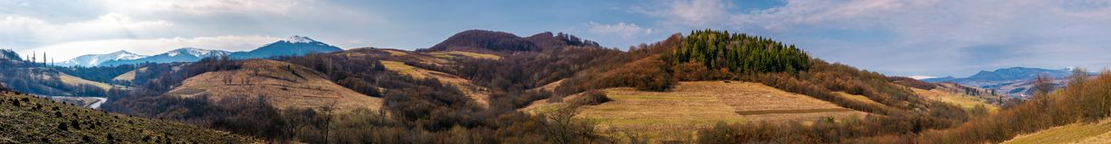Panorama of mountainous area of Carpathians. Lovely springtime landscape located near the Volovets town, Ukraine Stock Photo