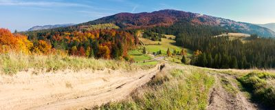 Panorama of mountainous landscape in autumn. Country road down the hill. parking lot in the valley. forest in fall colors royalty free stock image