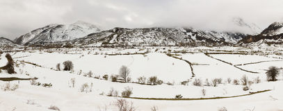 Panorama Mountainous Landscape with Snow Stock Images