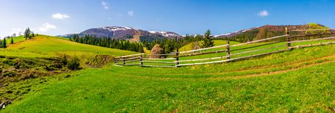 Panorama of mountainous rural area. Fence along the path on a grassy hill. beautiful landscape with Borzhava mountain ridge in the distance in springtime royalty free stock photos