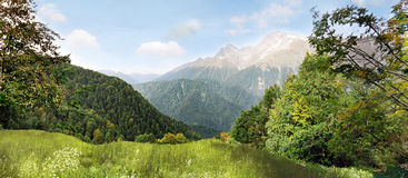 Panorama of mountains stock photography