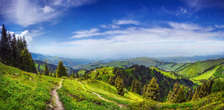 Panorama of the mountains in Alamty Royalty Free Stock Images