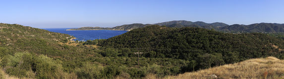 Panorama mountains and bay of Aegean Sea. Royalty Free Stock Photos